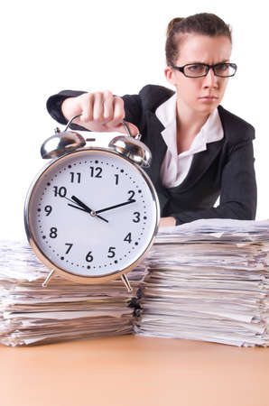 Woman businesswoman with giant alarm clock Stock Photo - 20083489