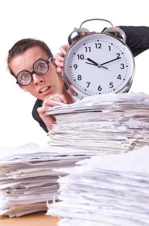 Woman businesswoman with giant alarm clock Stock Photo - 20083483