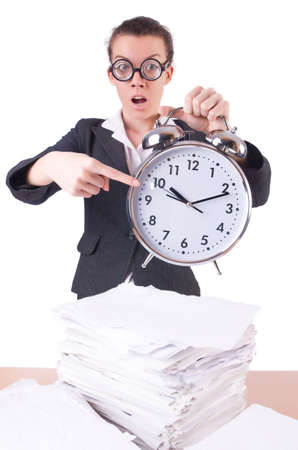 Woman businesswoman with giant alarm clock Stock Photo - 20083465