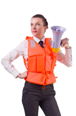 Young woman with vest and loudspeaker on white Stock Photo - 20258693