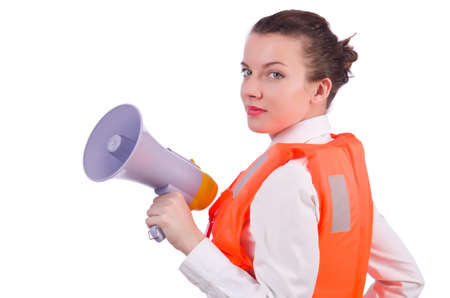 Young woman with vest and loudspeaker on white Stock Photo - 20258660