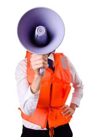 Young woman with vest and loudspeaker on white Stock Photo - 19650700