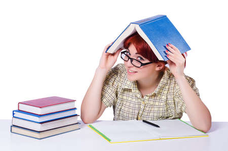 Girl student with books on white Stock Photo - 20258795