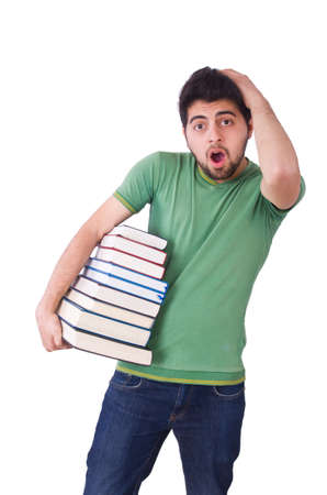 Student with lots of books on white Stock Photo - 20258782