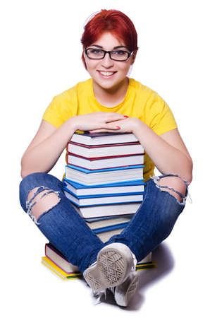 Girl student with books on white Stock Photo - 20258806