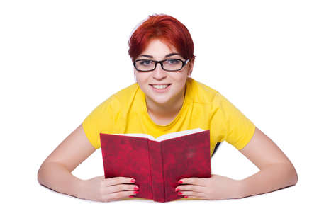 Girl student with books on white Stock Photo - 20101607