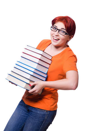 Girl student with books on white Stock Photo - 20101611