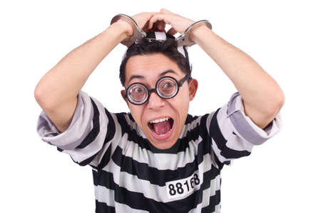 Funny convict isolated on the white Stock Photo - 20101604