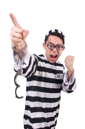 Funny convict isolated on the white Stock Photo - 20101600