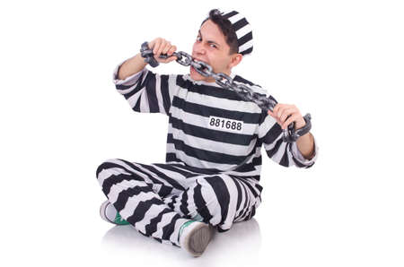 Funny convict isolated on the white Stock Photo - 20101601