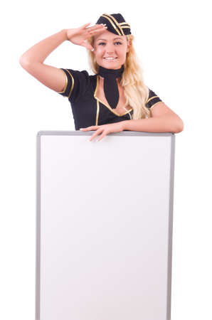 Stewardess with blank board on white Stock Photo - 20101599