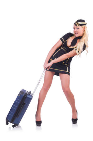 Woman travel attendant with suitcase on white Stock Photo - 20258740