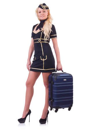 Woman travel attendant with suitcase on white Stock Photo - 20258761