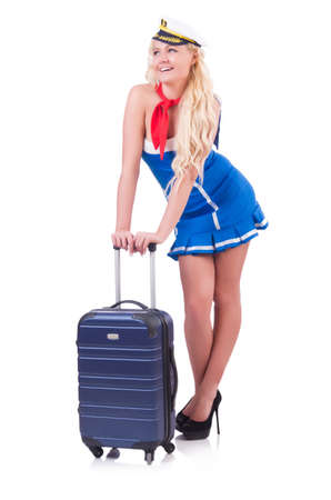 Woman travel attendant with suitcase on white Stock Photo - 20258756