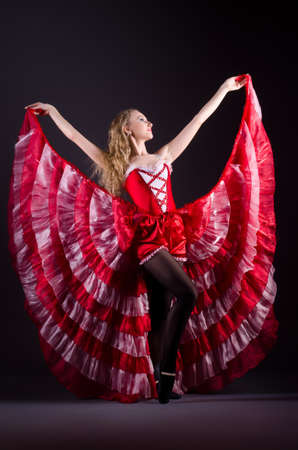 Girl in red dress dancing dance Stock Photo - 20258794