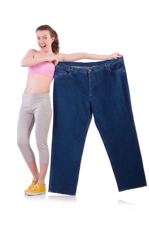 Woman in dieting concept with big jeans Stock Photo - 20258783