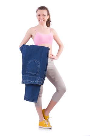 Woman in dieting concept with big jeans Stock Photo - 20102463