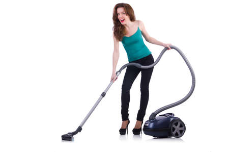 Young woman with vacuum cleaner on white Stock Photo - 20102451