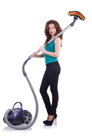 Young woman with vacuum cleaner on white Stock Photo - 20102457