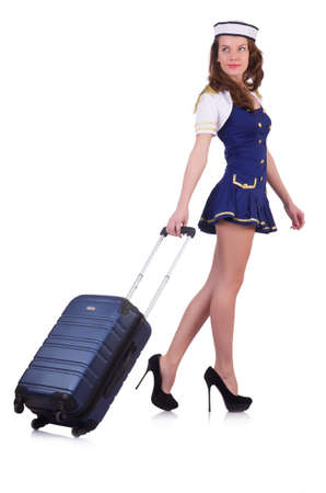 Woman travel attendant with suitcase on white Stock Photo - 20258751
