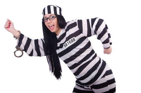 Prisoner in striped uniform on white Stock Photo - 20258768