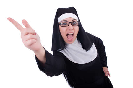 Funny nun isolated on the white Stock Photo - 20258757