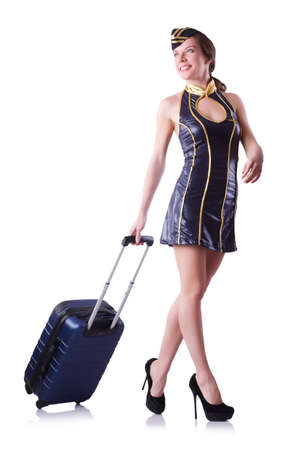 Woman travel attendant with suitcase on white Stock Photo - 20102461