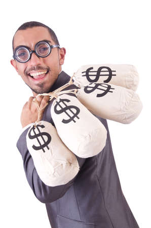Man with money sacks on white photo