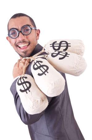 Man with money sacks on white Stock Photo - 20102112