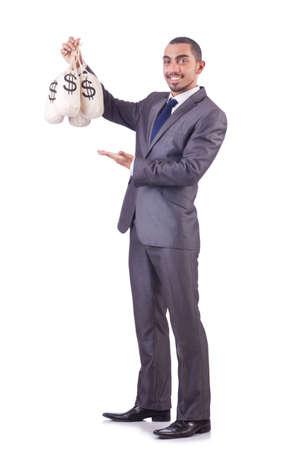 Man with money sacks on white Stock Photo - 20102104