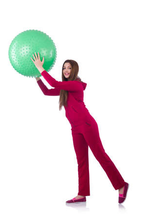 Young woman with ball exercising on white Stock Photo - 20102103