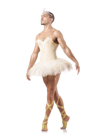 Man in ballet tutu isolated on white Stock Photo - 21058419