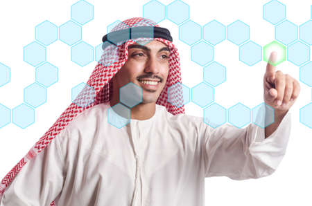 Arab pressing virtual buttons Stock Photo - 20258788