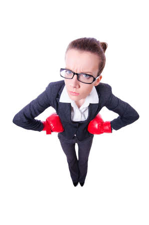 Woman with boxing gloves on white Stock Photo - 20103404