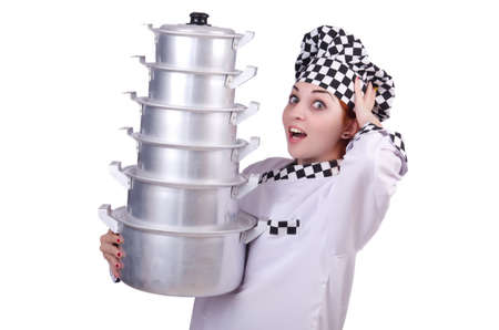 Cook with stack of pots on white Stock Photo - 20095537