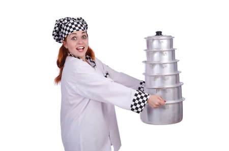 Cook with stack of pots on white photo