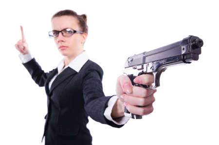 Woman with gun isolated on white Stock Photo - 20258750