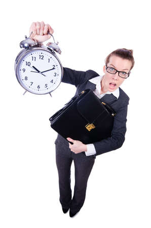 Funny woman with clock on white Stock Photo - 20258766