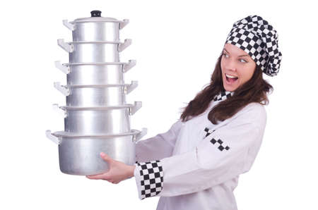 Cook with stack of pots on white Stock Photo - 20258770