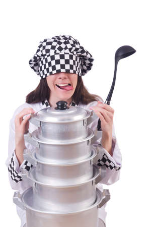 Cook with stack of pots on white Stock Photo - 19673966