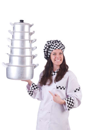 Cook with stack of pots on white Stock Photo - 20258765
