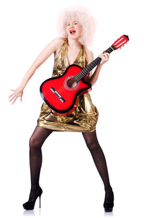 Young singer with afro cut and guitar Stock Photo - 20258773