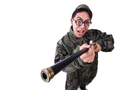 Funny soldier isolated on the white Stock Photo - 20103094