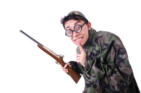 Funny soldier isolated on the white Stock Photo - 20103385