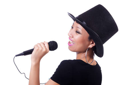 Afro-american female singer isolated on white photo