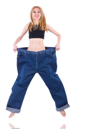 Woman in dieting concept with big jeans Stock Photo - 19869139