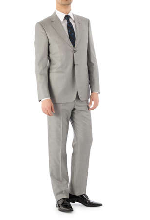 Man model with suit on white photo