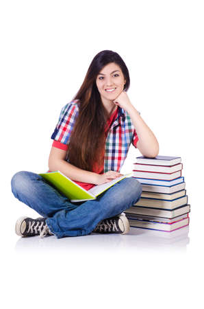 successful student: Student with books isolated on white