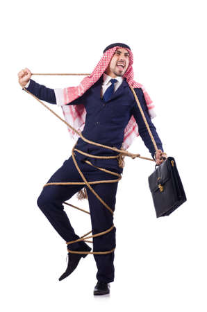 freeing: Arab man tied up with rope on white