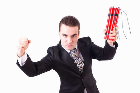 Businessman with dynamite isolated on white Stock Photo - 21110120